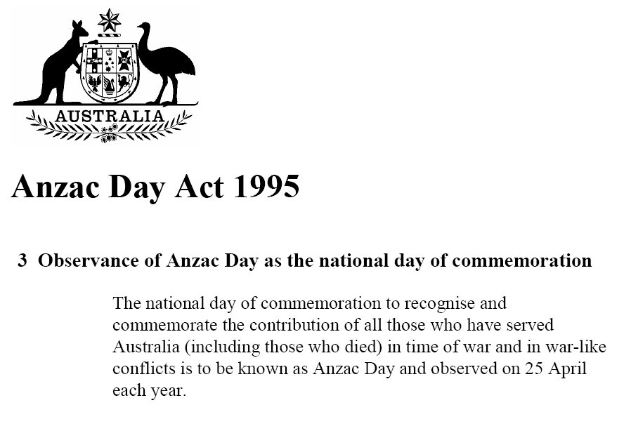 is it anzac or anzac s anzac day act 1995